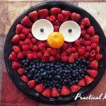 Elmo themed fruit tray