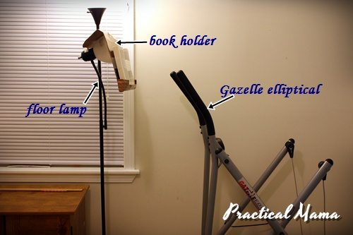 Book holder for exercise equipment