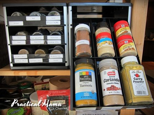 Organizing herb, spice and seed bottles
