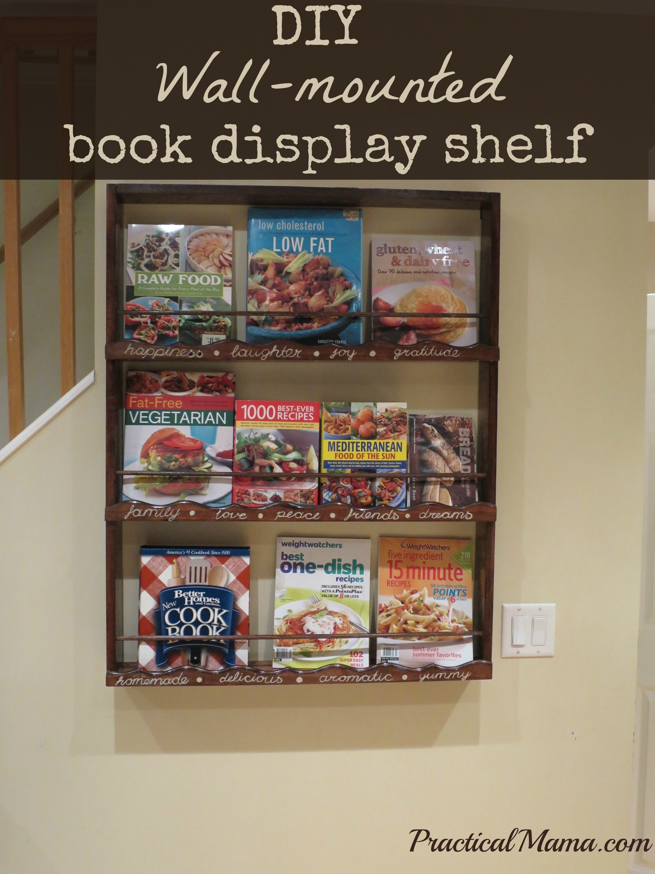 Diy wall mounted book display shelf for my cookbooks bookdisplayshelf forumfinder