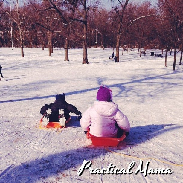 Snow activities for children in Instagram photos
