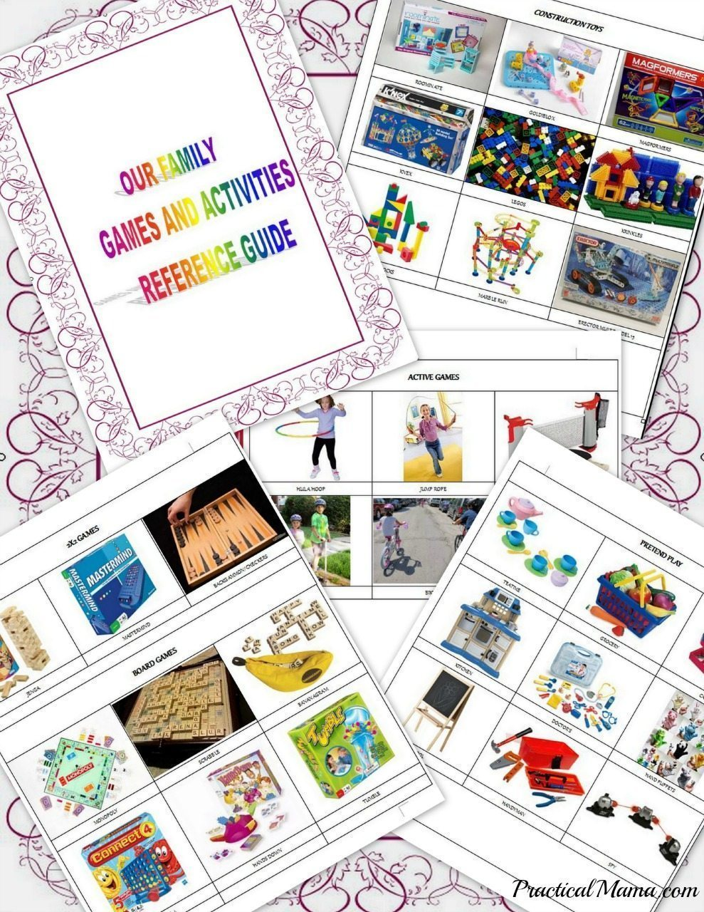 Kids' games and activities quick reference guide