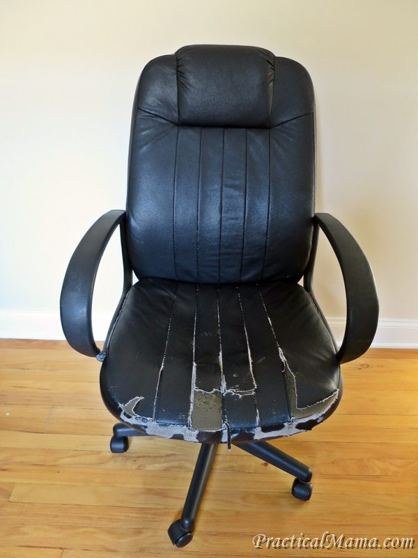 Old Office Chair diy: reupholstering the old office chair - practical mama