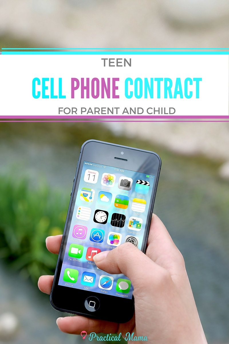 graphic about Printable Cell Phone Contract for Tweens identified as Teenager cellular mobile phone agreement - printable pattern