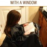 Hairdressers cape with window