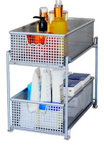 two tier pull out sliding cabinet basket