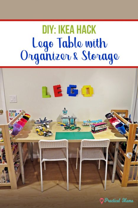 Lego table with storage and organizer