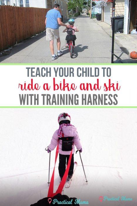 Teach bike ski with training harness